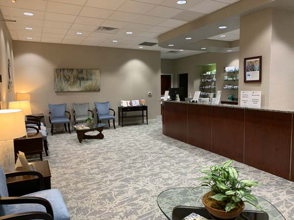 The reception desk at Carolina Total Wellness.