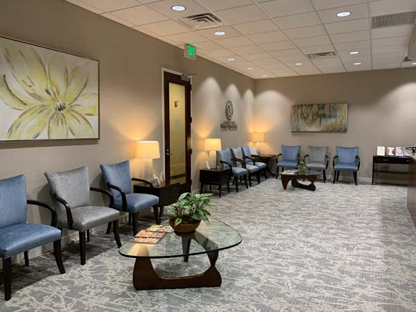 The comfortable lobby at Carolina Total Wellness.